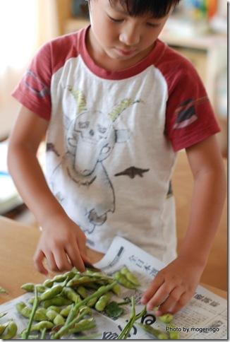 長男と枝豆